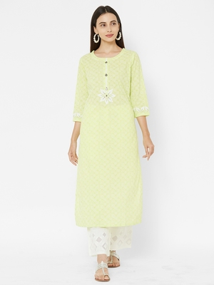 Green printed cotton ethnic-kurtis