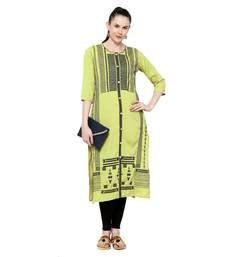 Green embroidered viscose embroidered-kurtis