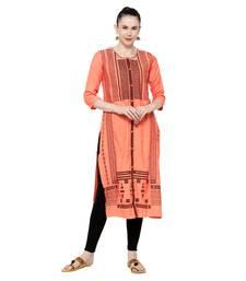 Orange embroidered viscose embroidered-kurtis