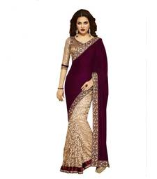 Buy brown plain chiffon saree with blouse velvet-saree online