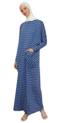 JSDC Women Modest Wear Long Gown Style Strips Pattern Jersey Kaftan