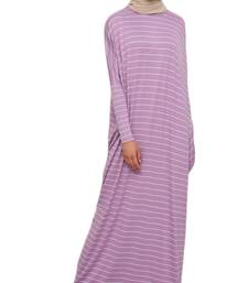 JSDC Printed Organic Jersey Women Long Kaftan Gown with Side Pocket