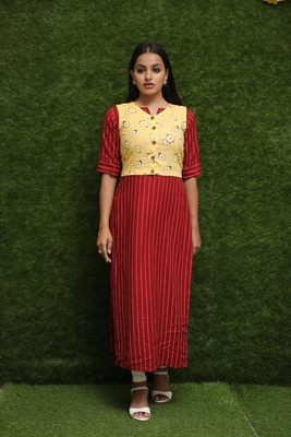 Women Red Kurti With Yellow Jacket