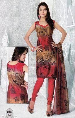 Dress Material Elegant French Crepe Printed Unstitched Salwar Kameez Suit D.No N123