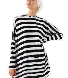 JSDC Modest Wear Strips Printed Short Women Tunic Kaftan Kurta Top