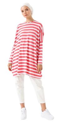 JSDC Stretchable Strips Printed Tunic Kaftan For Women