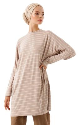 JSDC Pocket Style Strips Printed Short Women Tunic Kaftan Kurta Top