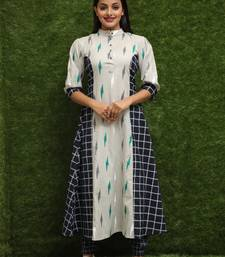 Women Multicolour Long Kurti With Blue Salwar Dress