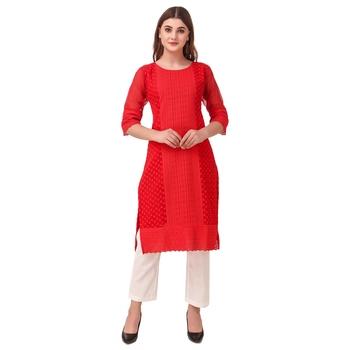 SWAGG INDIA Women's Wear Red Lucknow Chikan Needlecraft Faux Georgette Regular Wear Kurti Kurta