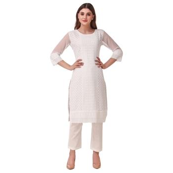 SWAGG INDIA Women's Wear White Lucknow Chikan Needlecraft Faux Georgette Regular Wear Kurti Kurta