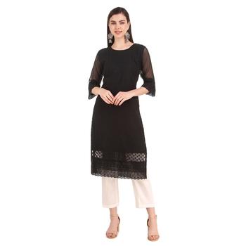 SWAGG INDIA Women's Wear Black Lucknow Chikan Needlecraft Faux Georgette Regular Wear Kurti Kurta
