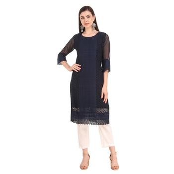 SWAGG INDIA Women's Wear Blue Lucknow Chikan Needlecraft Faux Georgette Regular Wear Kurti Kurta