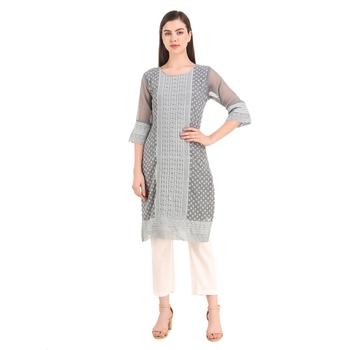 SWAGG INDIA Women's Wear Grey Lucknow Chikan Needlecraft Faux Georgette Regular Wear Kurti Kurta