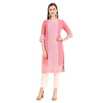 SWAGG INDIA Women's Wear Gajari Lucknow Chikan Needlecraft Faux Georgette Regular Wear Kurti Kurta