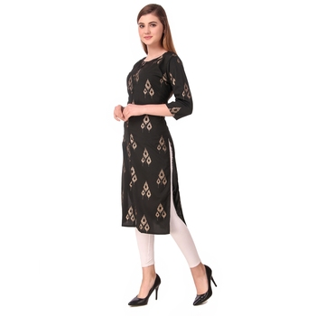 SWAGG INDIA Women's Wear Black Foiled Crepe Kurti