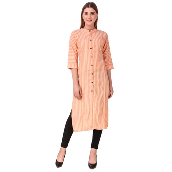 SWAGG INDIA Women's Wear Cotton Striped Kurti