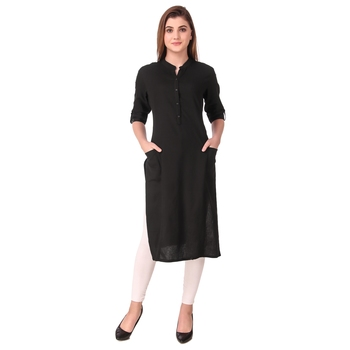 SWAGG INDIA Women's Wear Plain Cotton Kurti with Fold Up Sleeve