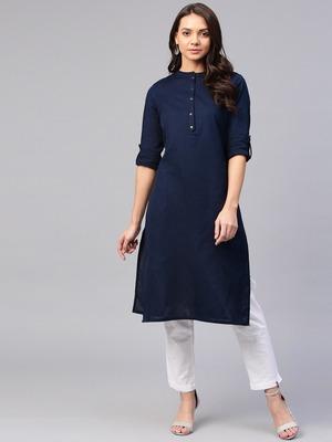 Navy blue plain cotton silk ethnic-kurtis