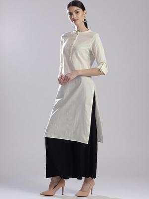 Off white plain cotton silk ethnic-kurtis