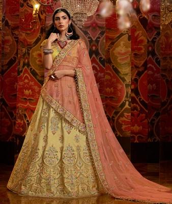Gold embroidered silk semi stitched lehenga