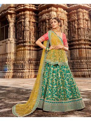 Green embroidered jacquard semi stitched lehenga