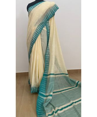 white Poly Silk Handloom Saree