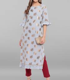Light-sky-blue printed crepe ethnic-kurtis