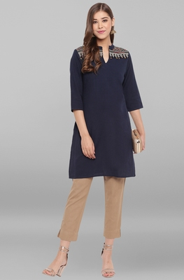 Navy-blue embroidered cotton short-kurtis