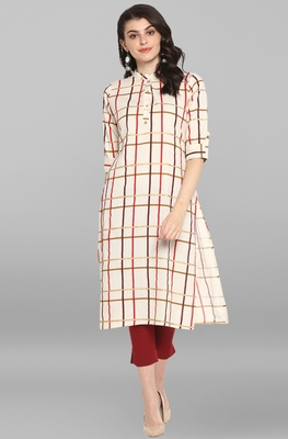 Cream printed cotton cotton-kurtis