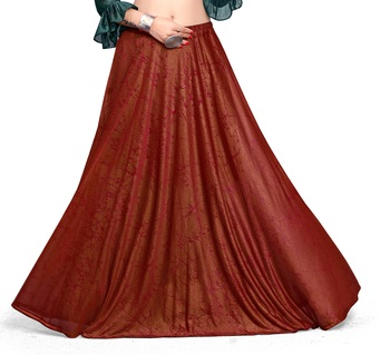 Maroon printed polyester skirts