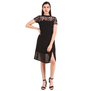 Black plain georgette short-dresses