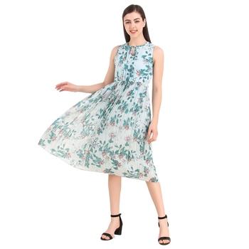 Sky-blue printed georgette short-dresses