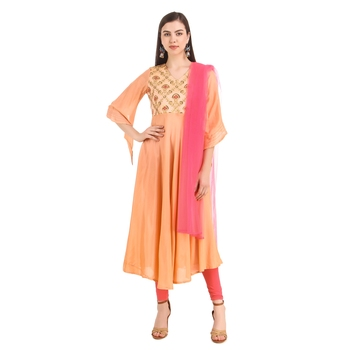 Peach embroidered viscose rayon long-dresses