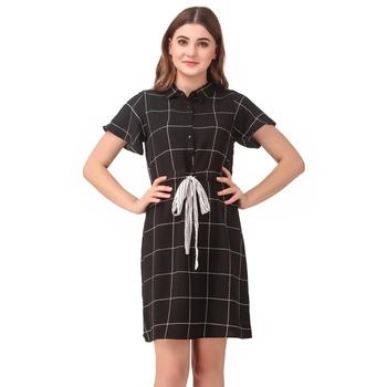 Black printed crepe short-dresses