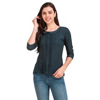 Turquoise plain viscose rayon party-tops