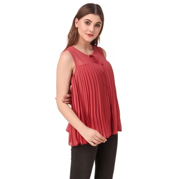 Pink plain georgette sleeveless-tops