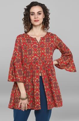 Red woven viscose rayon tunics