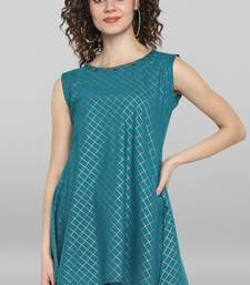 Turquoise printed cotton sleeveless-tops