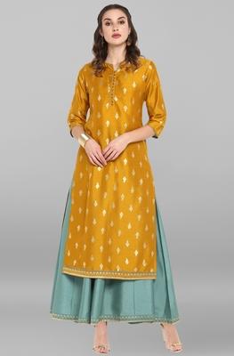 Mustard printed silk long-dresses
