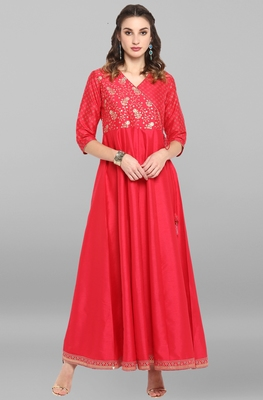Pink printed silk long-dresses