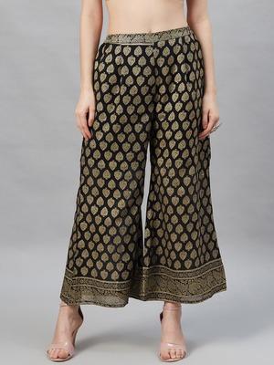 Black printed georgette palazzo-pants
