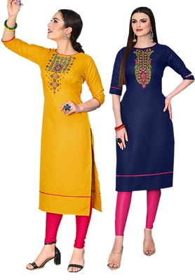 Mirraw Classiques Embroidered Yellow And Blue Cotton Stitched Kurti ( Pack of 2 )