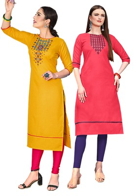Mirraw Classiques Embroidered Yellow And Pink Cotton Stitched Kurti ( Pack of 2 )