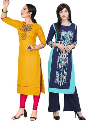 Mirraw Classiques Embroidered Yellow And Blue Printed Crepe Cotton Stitched Kurti ( Pack of 2 )