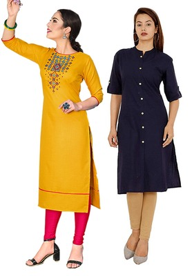 Mirraw Classiques Embroidered Yellow And Navy Blue Plain Cotton Stitched Kurti ( Pack of 2 )