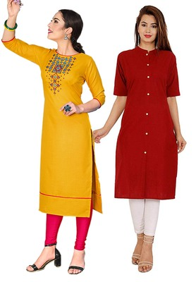 Mirraw Classiques Embroidered Yellow And Red Plain Cotton Stitched Kurti ( Pack of 2 )