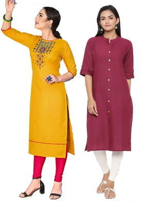 Mirraw Classiques Embroidered Yellow And Pink Plain Cotton Stitched Kurti ( Pack of 2 )