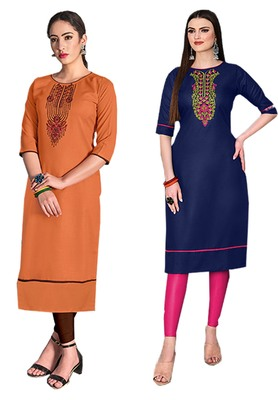 Mirraw Classiques Embroidered Orange And Blue Cotton Stitched Kurti ( Pack of 2 )