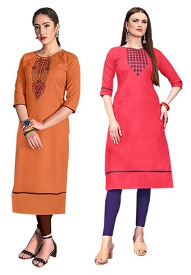Mirraw Classiques Embroidered Orange And Pink Cotton Stitched Kurti ( Pack of 2 )