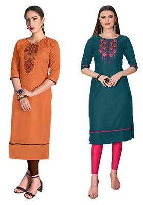 Mirraw Classiques Embroidered Orange And Green Cotton Stitched Kurti ( Pack of 2 )